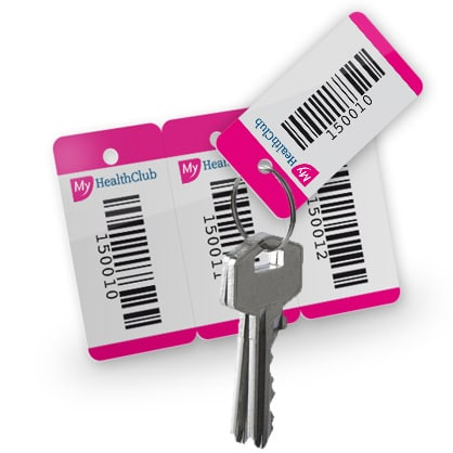 key tag met barcode